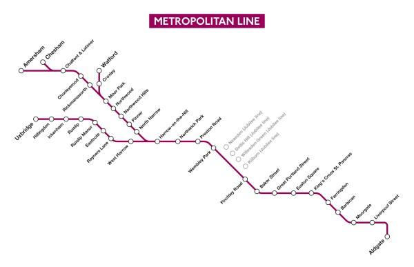 Metropolitan Line route map
