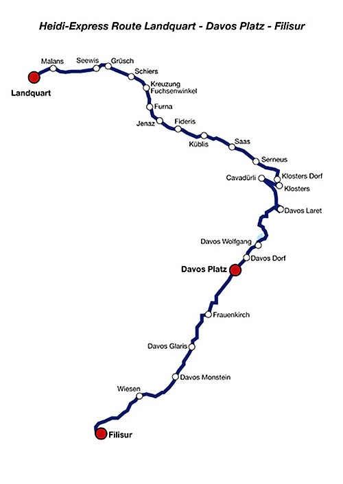 Heidi-Express RhB route map